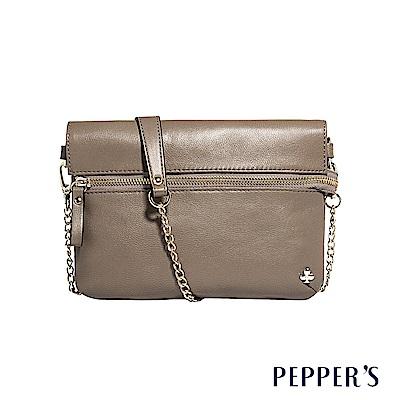 PEPPER`S  Ellie 羊皮拉鍊小斜背包 - 卡其