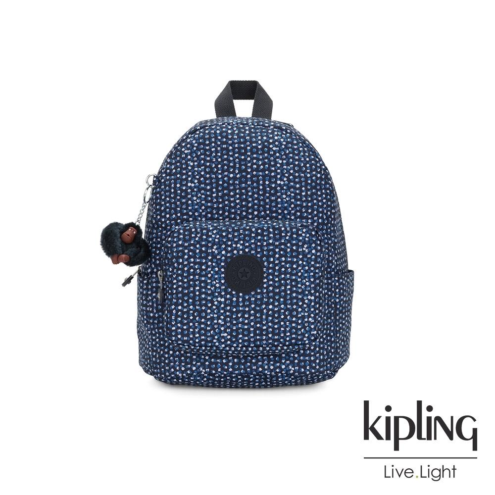 Kipling 星光雪花綻藍簡約大容量後背包-MALCOM