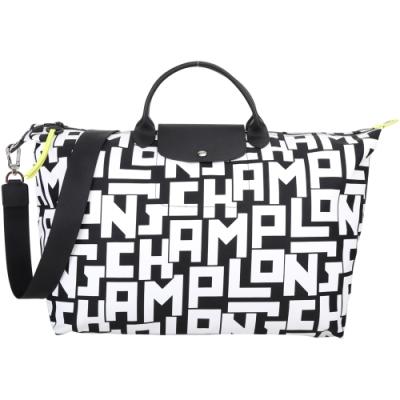 LONGCHAMP LGP 大型 黑白字母尼龍肩背/手提旅行袋