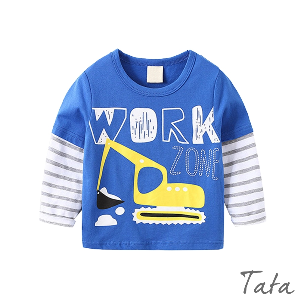 童裝 卡通挖土機印花上衣 TATA KIDS (藍色挖土機)