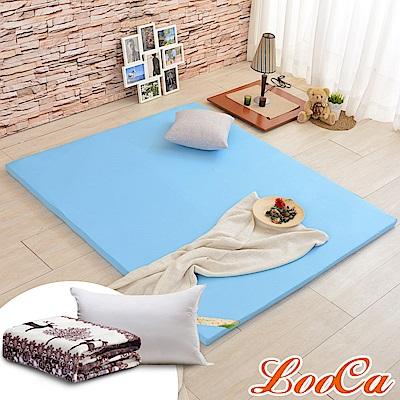 (福氣超值組)LooCa 吸濕排汗HT5cm乳膠舒眠床墊-單人3尺