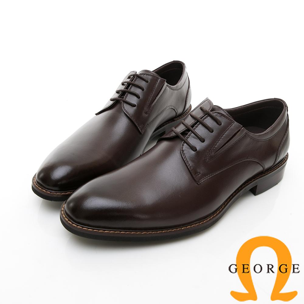【GEORGE 喬治皮鞋】商務系列 楦頭立體紳士皮鞋-棕色