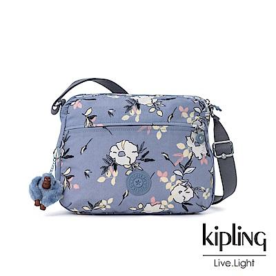 Kipling 粉紫藍柔雅花卉多拉鍊實用側背包-CORA M