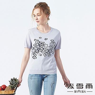 【麥雪爾】抽象花朵水鑽針織衫-藍