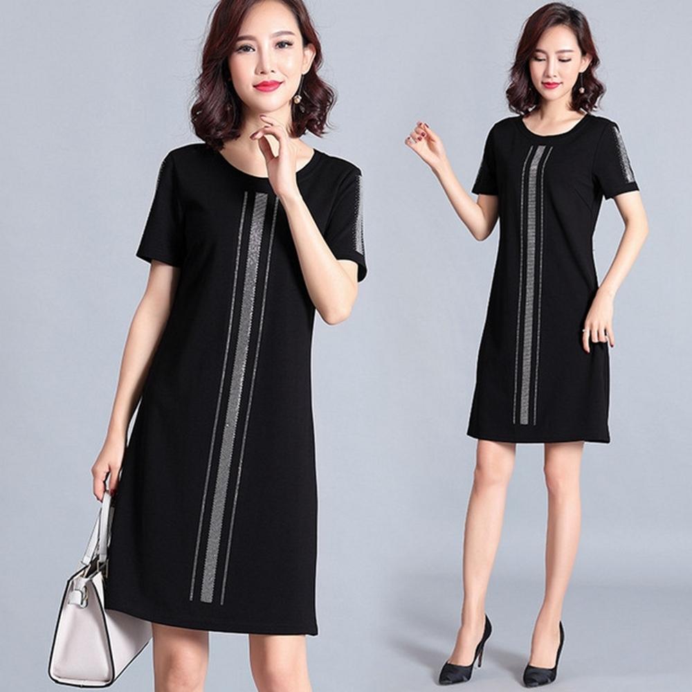 簡約燙鑽撞色氣質連衣裙M-5XL-KVOLL