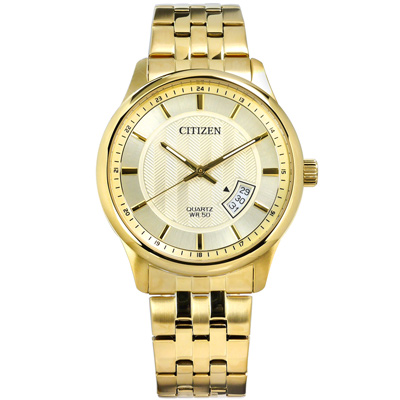 CITIZEN 星辰表 日期視窗礦石強化玻璃日本機芯不鏽鋼手錶-鍍金/40mm