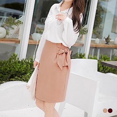 腰側打褶綁帶造型後擺圓弧開衩素色高腰包裙.2色-OB嚴選