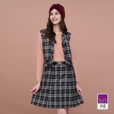 ILEY伊蕾 亮麗格紋彈性假兩件洋裝(粉)