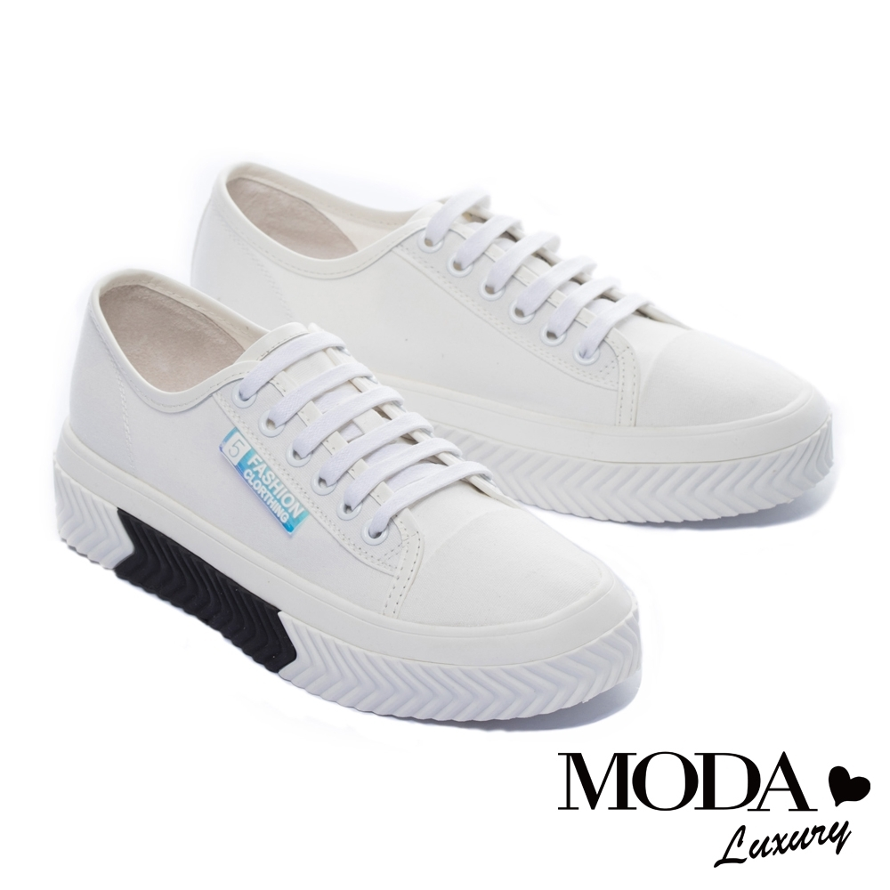 休閒鞋 MODA Luxury 特殊幻彩標語拼接綁帶厚底休閒鞋-白