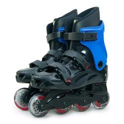 DLD多輪多 高塑鋼底座 專業直排輪 溜冰鞋 黑藍 530 附贈三角背包