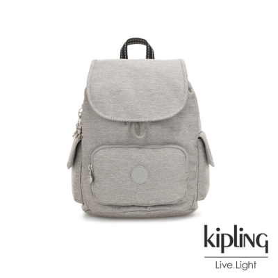 Kipling 清新柔和丹寧灰拉鍊掀蓋後背包-CITY PACK S