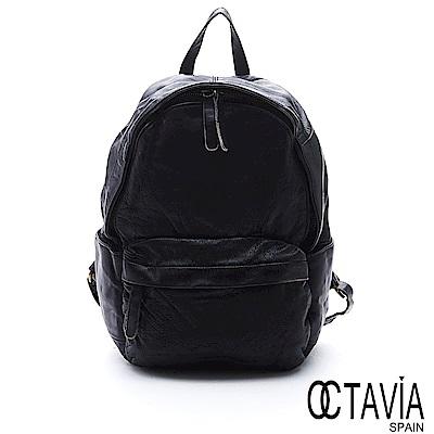 OCTAVIA 8 真皮 - 自慢包 經典水洗仿舊牛皮後背包 - 石洗墨黑