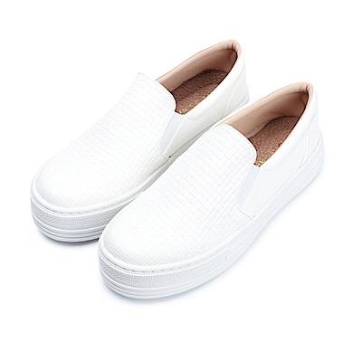 BuyGlasses 個性派真皮厚底懶人鞋-白