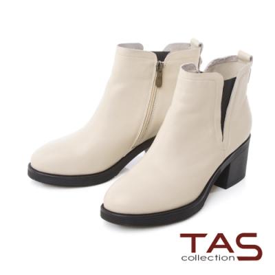 TAS素面牛皮側鬆緊短靴-百搭米