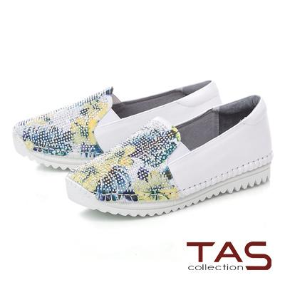 TAS 鳳梨水鑽牛皮懶人休閒鞋-時尚白