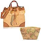Alviero Martini 義大利地圖包 束口斜側背水桶包+拉鍊化妝包