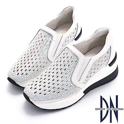 DN 運動時尚 菱型鏤空厚底休閒鞋-白