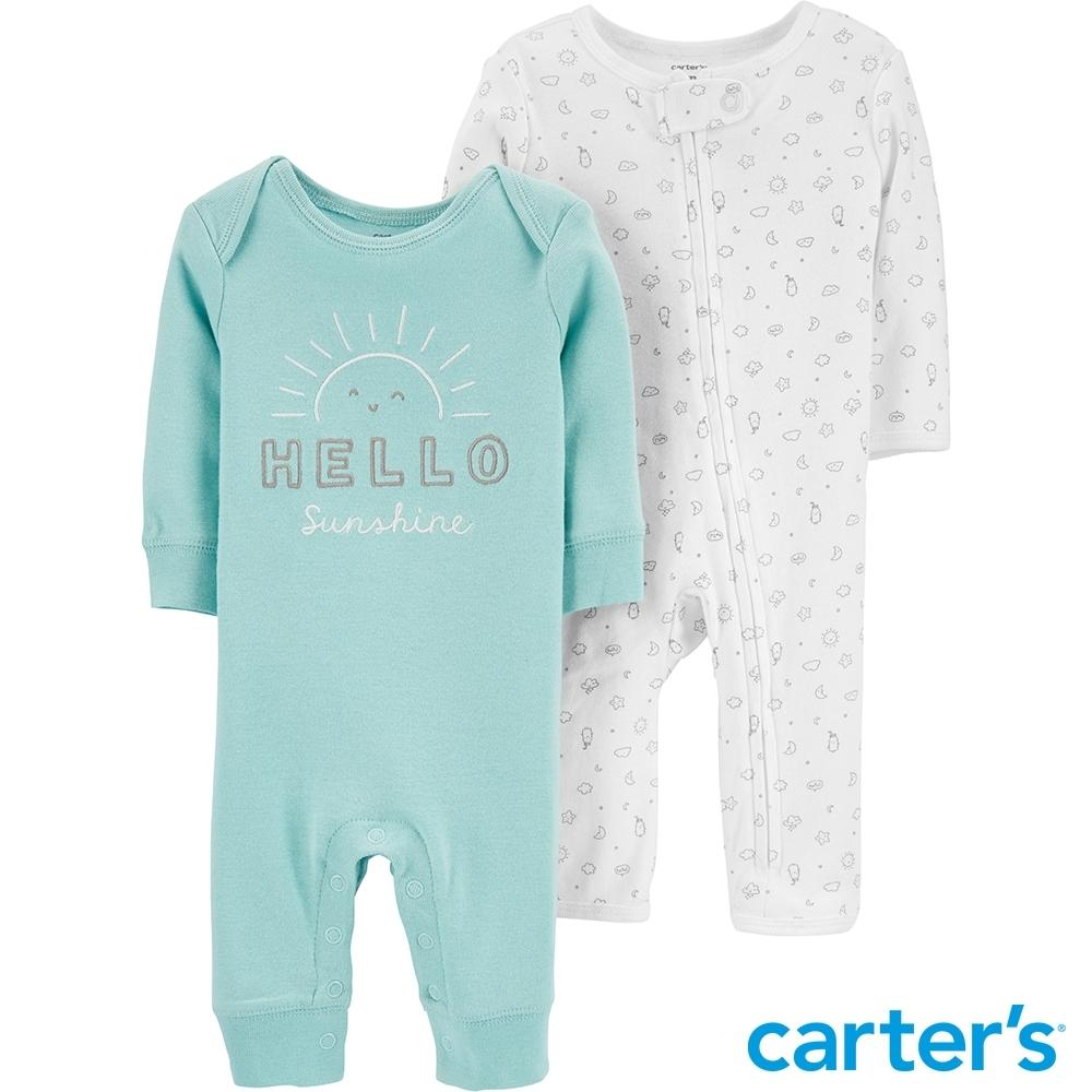 【Carter's】微笑陽光2件組長袖連身裝( 早產兒Pre-9M)(台灣總代理)