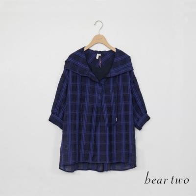 beartwo-格紋長袖連帽襯衫-藍