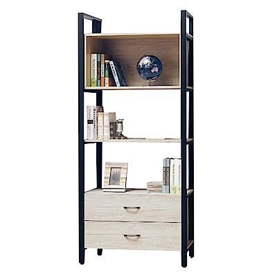 綠活居 波尼亞2.9尺二抽書櫃/收納櫃(二色可選)-88x40x199cm-免組