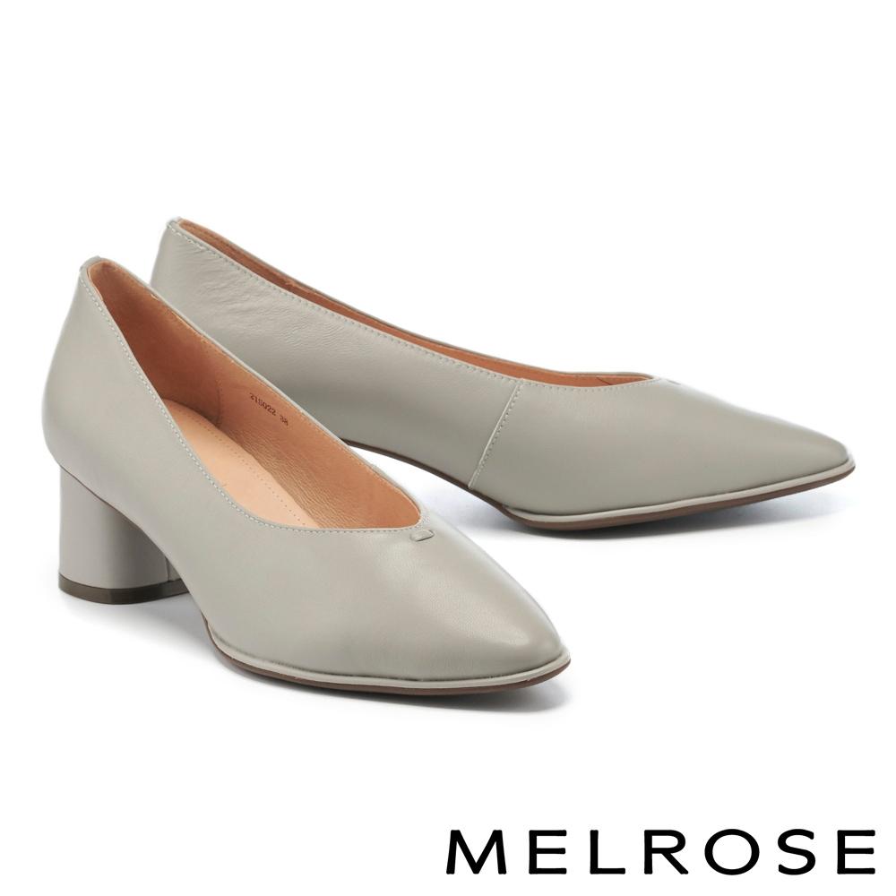 高跟鞋 MELROSE 極簡時尚純色全真皮尖頭粗高跟鞋-灰