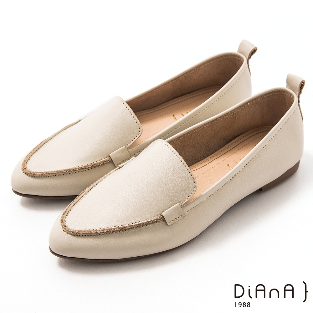 DIANA 1.5 cm莫蘭迪色調牛皮簡約尖頭素面樂福鞋–漫步雲端焦糖美人-白瑪腦