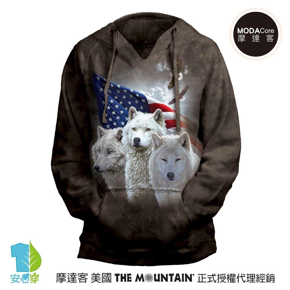 摩達客 預購 美國進口The Mountain 愛國三白狼 女版V領長袖連帽T恤