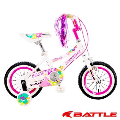【BATTLE】Eaglets小美鷹12吋高碳鋼兒童三輪車附加輔助輪