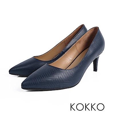 KOKKO - 風華再現素面尖頭高跟鞋-貴氣藍