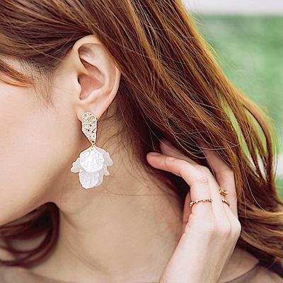 壓紋貝殼光澤花瓣感耳針式耳環-OB大尺碼