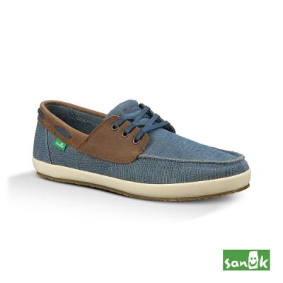 SANUK 男款 US8 復古水洗帆布綁帶休閒鞋(藍色)