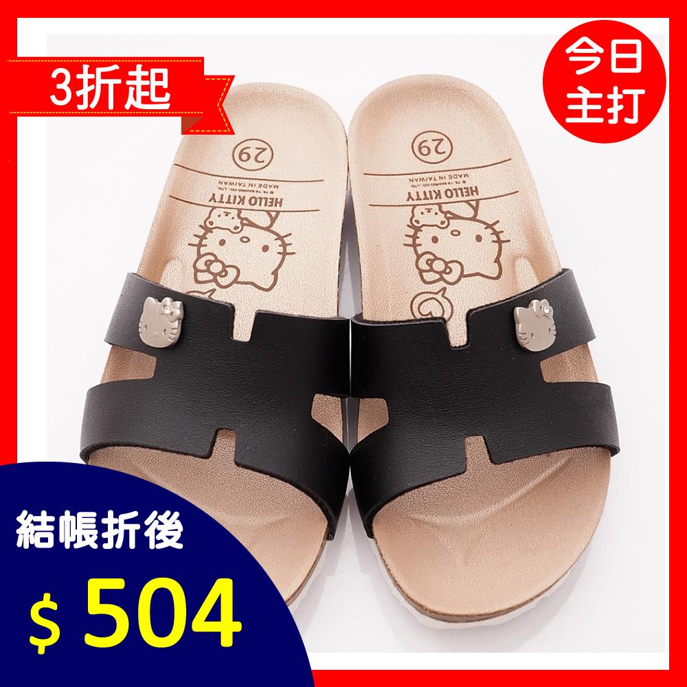 HelloKitty童鞋 簡約軟木涼鞋款 EI19292黑(中小童段)