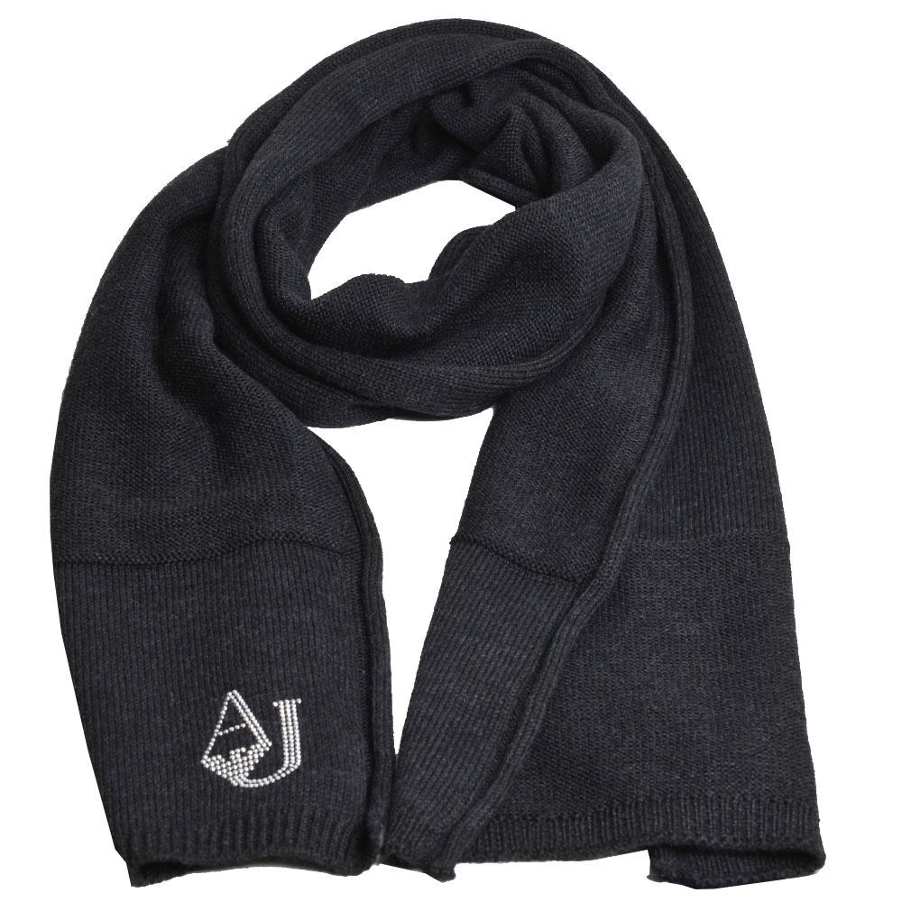 ARMANI JEANS 義大利製AJ品牌LOGO羊毛造型圍巾(黑灰)