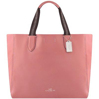 COACH 玫瑰粉色DERBY輕量皮革托特包
