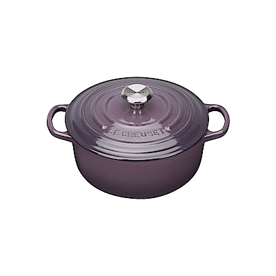LE CREUSET 琺瑯鑄鐵典藏圓鍋 16cm-葡萄紫-鋼頭