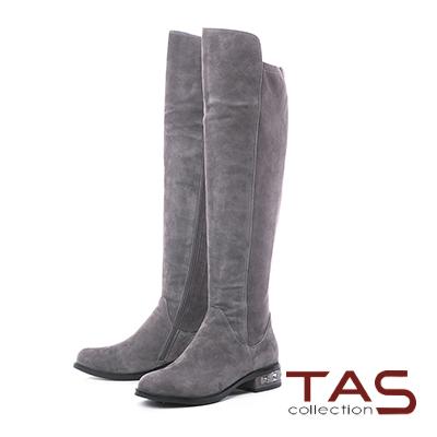 TAS前高後低素面拼接水鑽後跟長靴–冬季灰