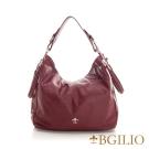 義大利BGilio-義大利水染牛皮個性肩背包(小)-棗紅色 2254.001-01A