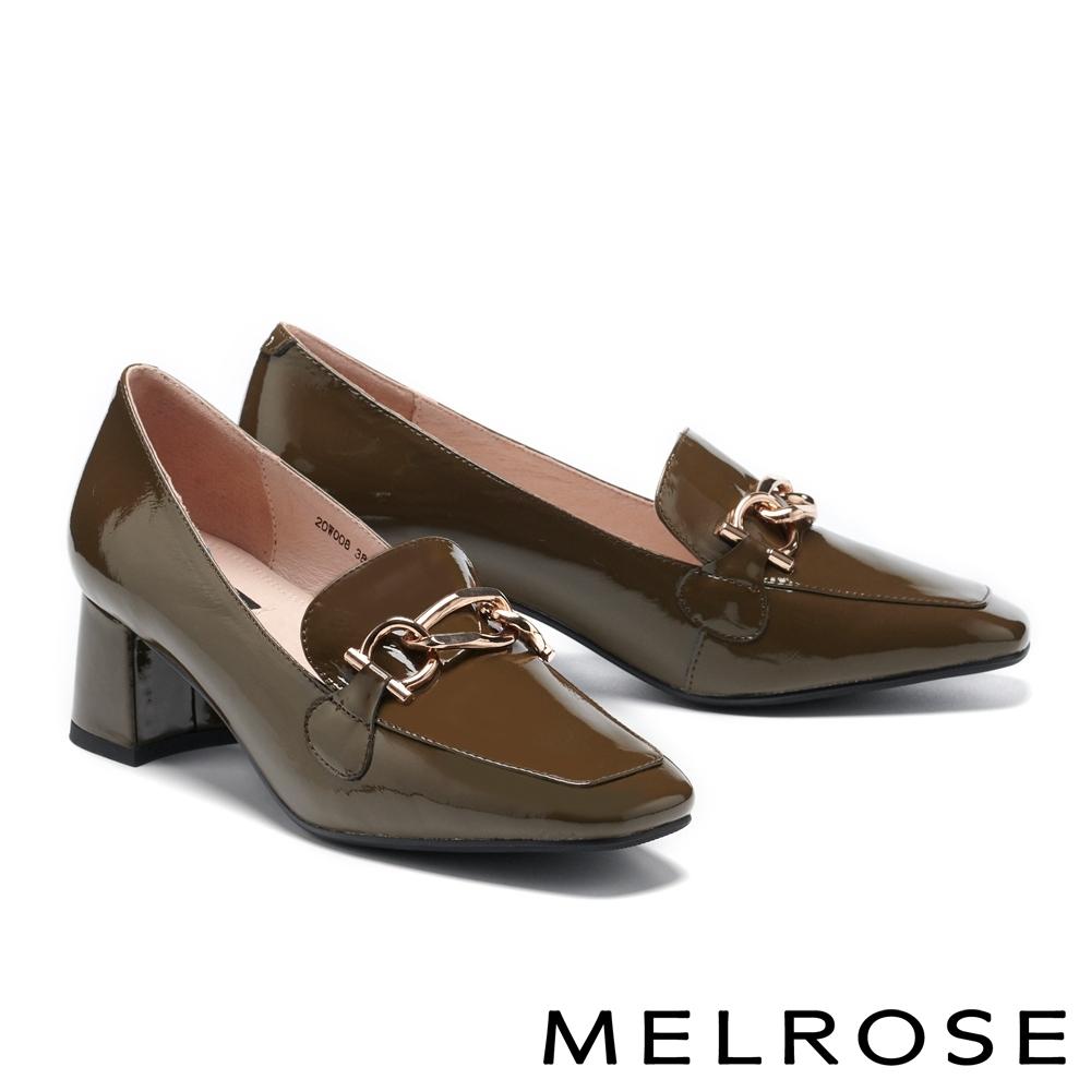 高跟鞋 MELROSE 俐落時尚金屬釦牛漆皮方頭樂福高跟鞋-綠
