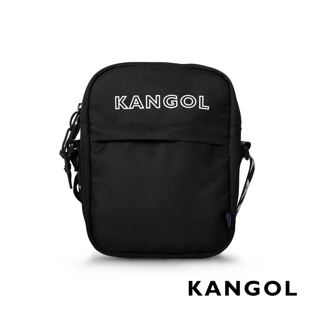 KANGOL LIBERTY系列 韓版潮流LOGO背帶小型側背包-黑色 KG1194
