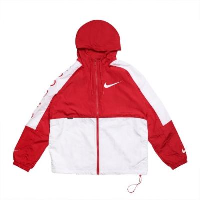 Nike 外套 Swoosh Jacket Woven 男款 NSW 連帽 大勾勾 防風 風衣外套 紅 白 DJ4131657