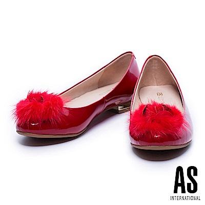 低跟鞋 AS 奢華貂毛設計牛漆皮圓頭低跟鞋-紅