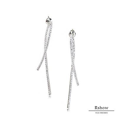 Rshow 銀色法式絲帶微鑲曲線水鑽耳環