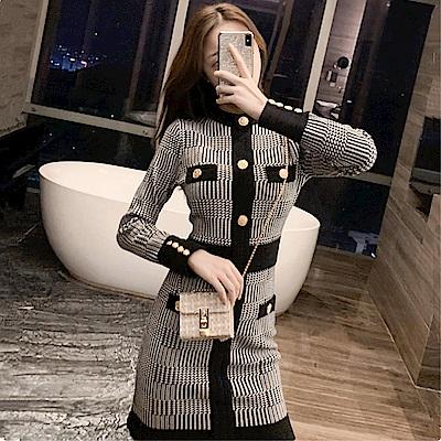 DABI 韓國風優雅針織包臀紐扣裝飾毛衣長袖洋裝
