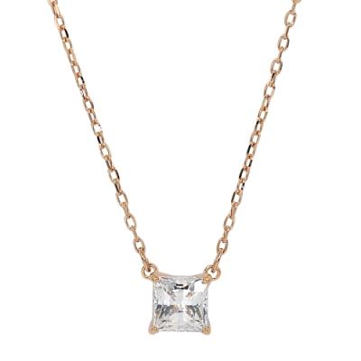 SWAROVSKI 施華洛世奇 ATTRACT璀璨方形水晶玫瑰金項鍊