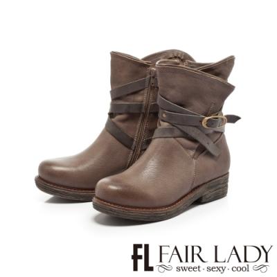Fair Lady抓皺配色皮革交叉釦帶短靴 灰