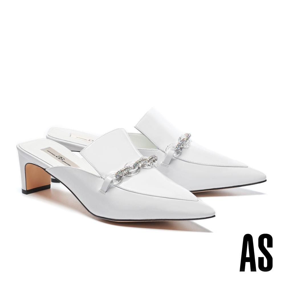 穆勒鞋 AS 摩登時髦水晶彩鑽鍊條尖頭高跟穆勒拖鞋-白