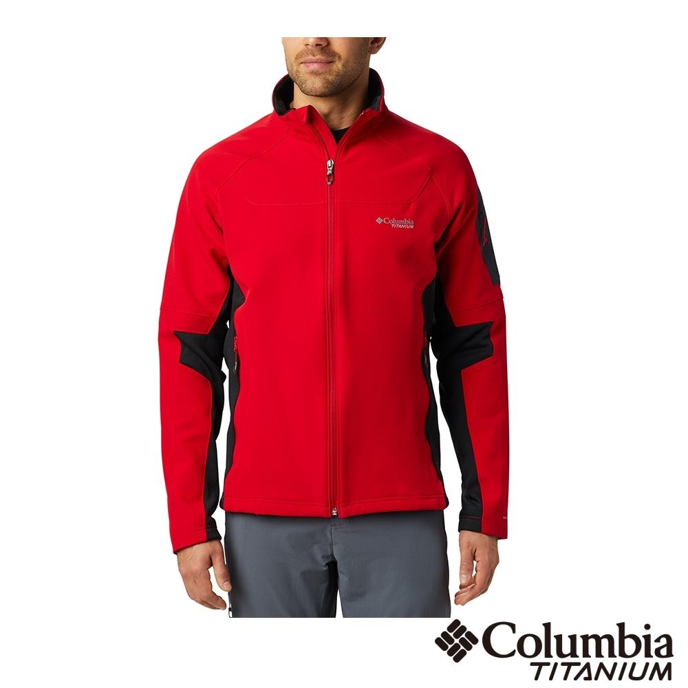 Columbia 哥倫比亞 男款- 鈦 防潑鋁點保暖軟殼外套-紅色