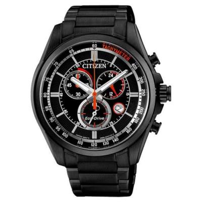 CITIZEN 星辰 極速快感三眼碼錶計時光動能時尚腕錶-黑(AT2136-87E)