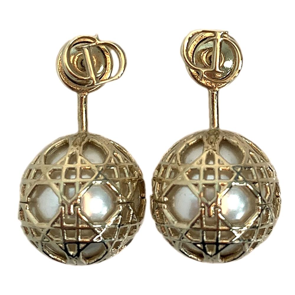 DIOR 經典Secret Cannage系列大小金屬簍空圓珠造型穿式耳環(金)