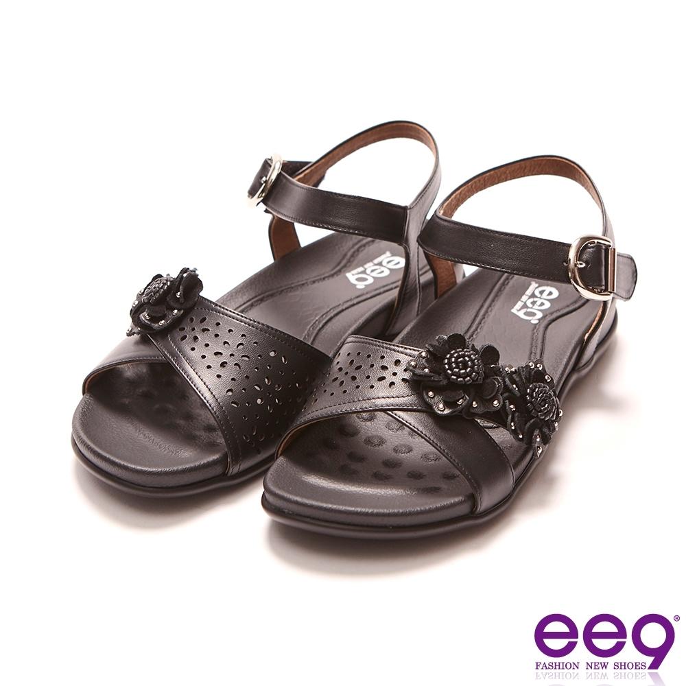 ee9 MIT經典手工亮麗花朵超輕厚底涼鞋 黑色(1020985 10)